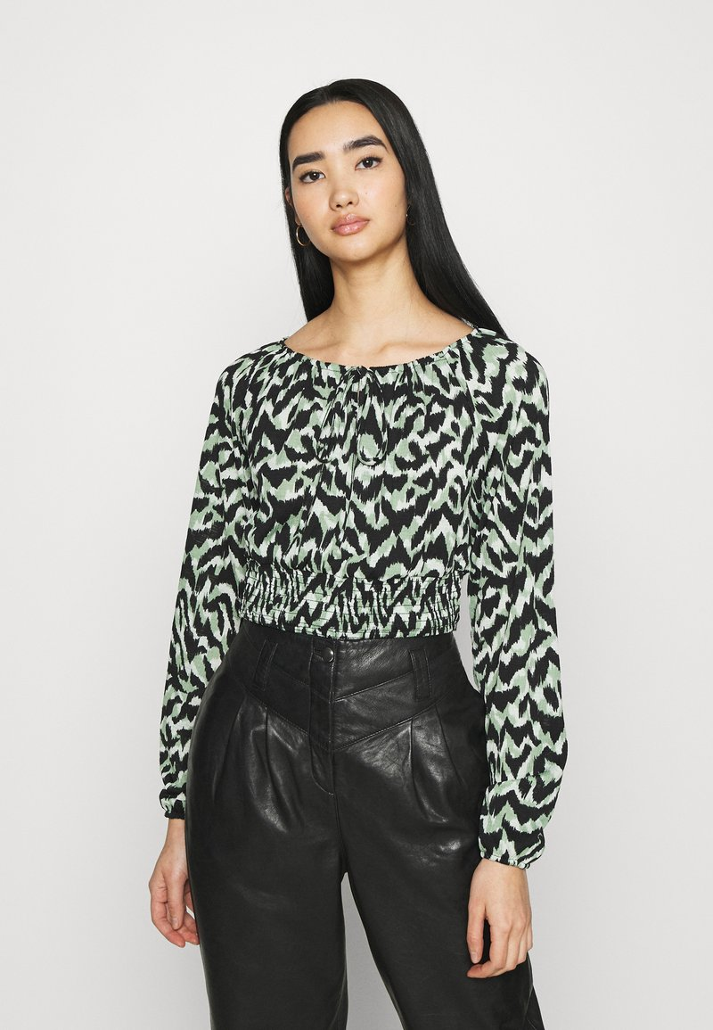 ONLY - ONLPELLA BOW - Long sleeved top - black/green milieu