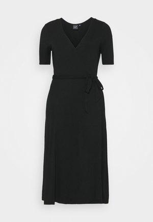 WRAP MIDI - Jersey dress - true black