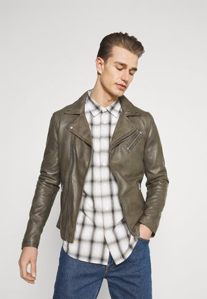 VICK BIKER - Leather jacket - shocked olive
