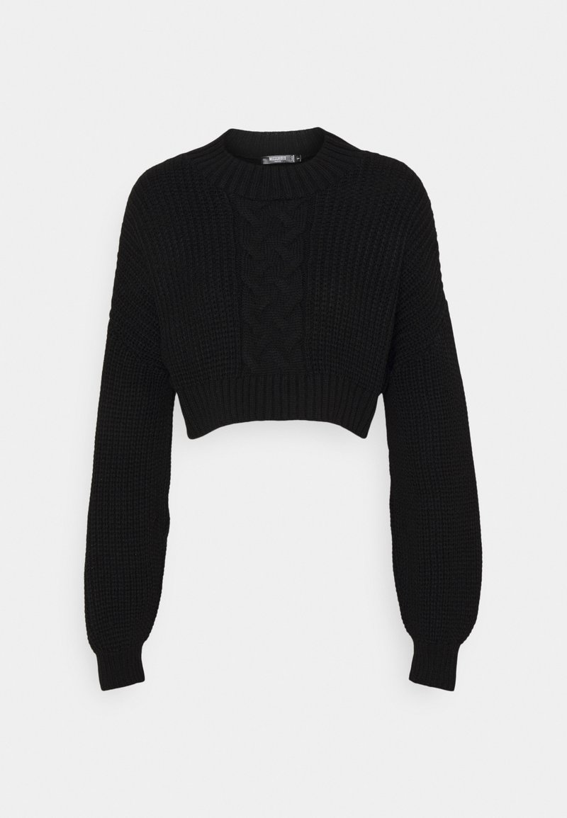 Missguided Petite - CROPPED CABLE JUMPER - Jumper - black