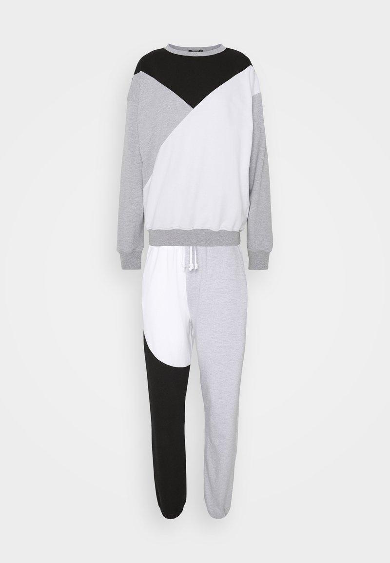 Missguided Tall - COLOURBLOCK JOGGER SET TALL - Sweatshirt - black/white/grey