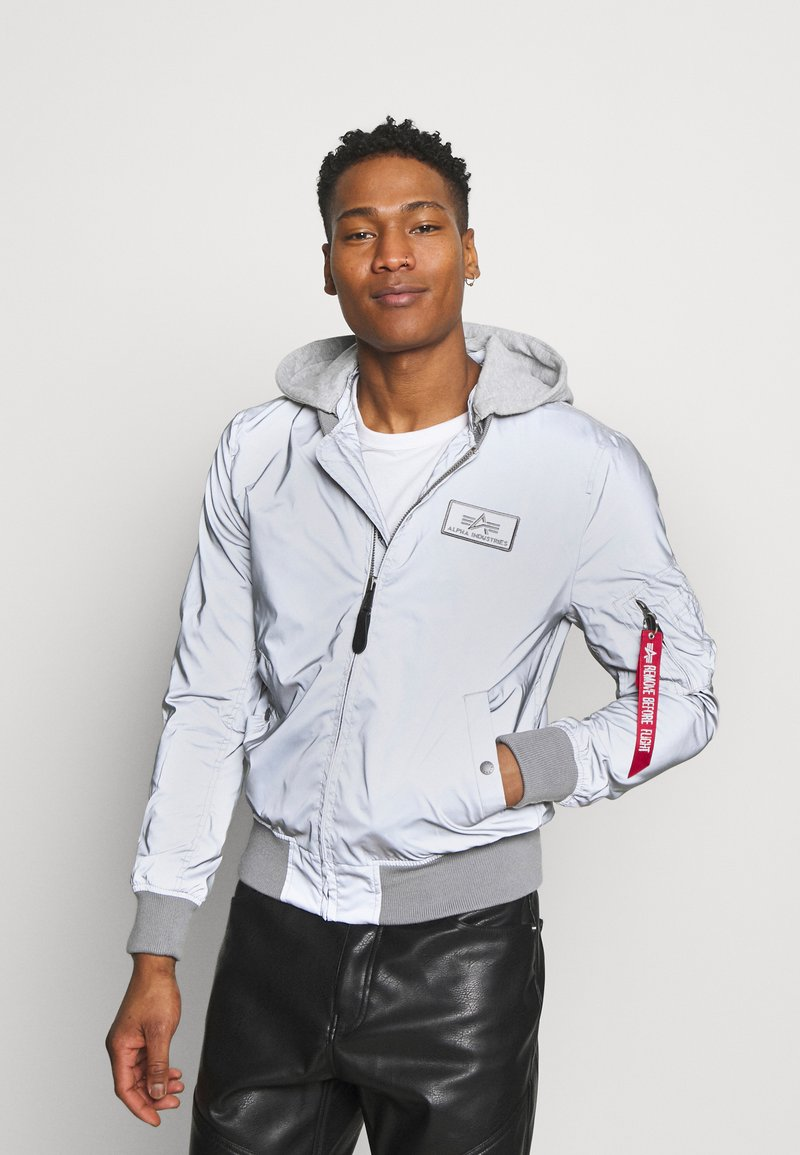 Alpha Industries - HOOD REFLECTIVE - Bomber Jacket - silver