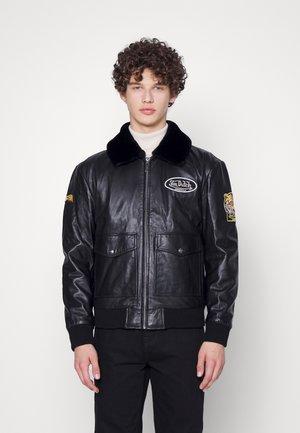 AVIATOR - Leather jacket - black