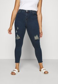 Glamorous Curve - RIPPED WREN - Jeans Skinny Fit - dark blue rinse - 0