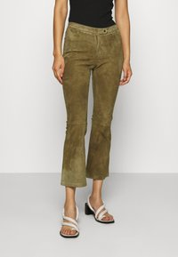 Ibana - AIMEE - Leather trousers - mossgreen - 0