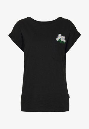 VISBY FLOWER POCKET - Print T-shirt - black
