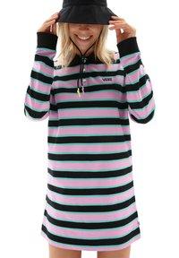 Vans - WM STRIPE POLO DRESS - Jersey dress - black - 0