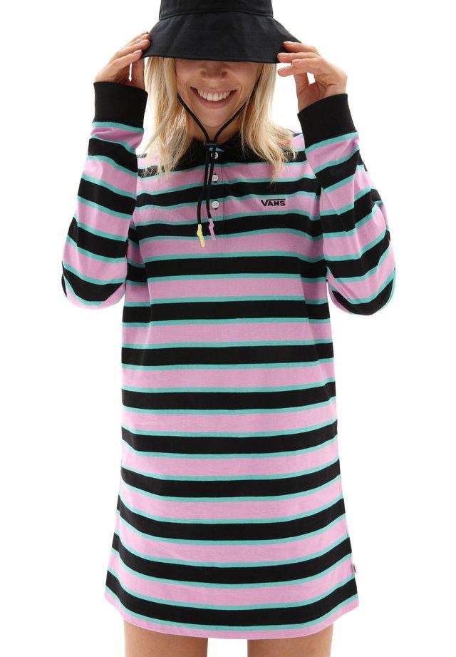 WM STRIPE POLO DRESS - Jerseyjurk - black