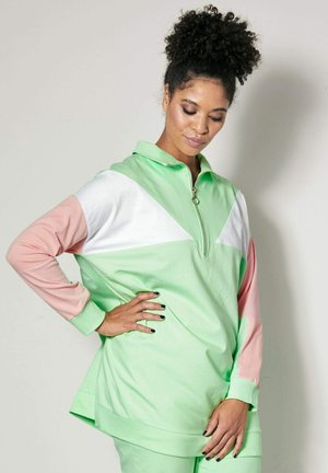 Sweatshirt - mintgrün/hellrosa/weiß