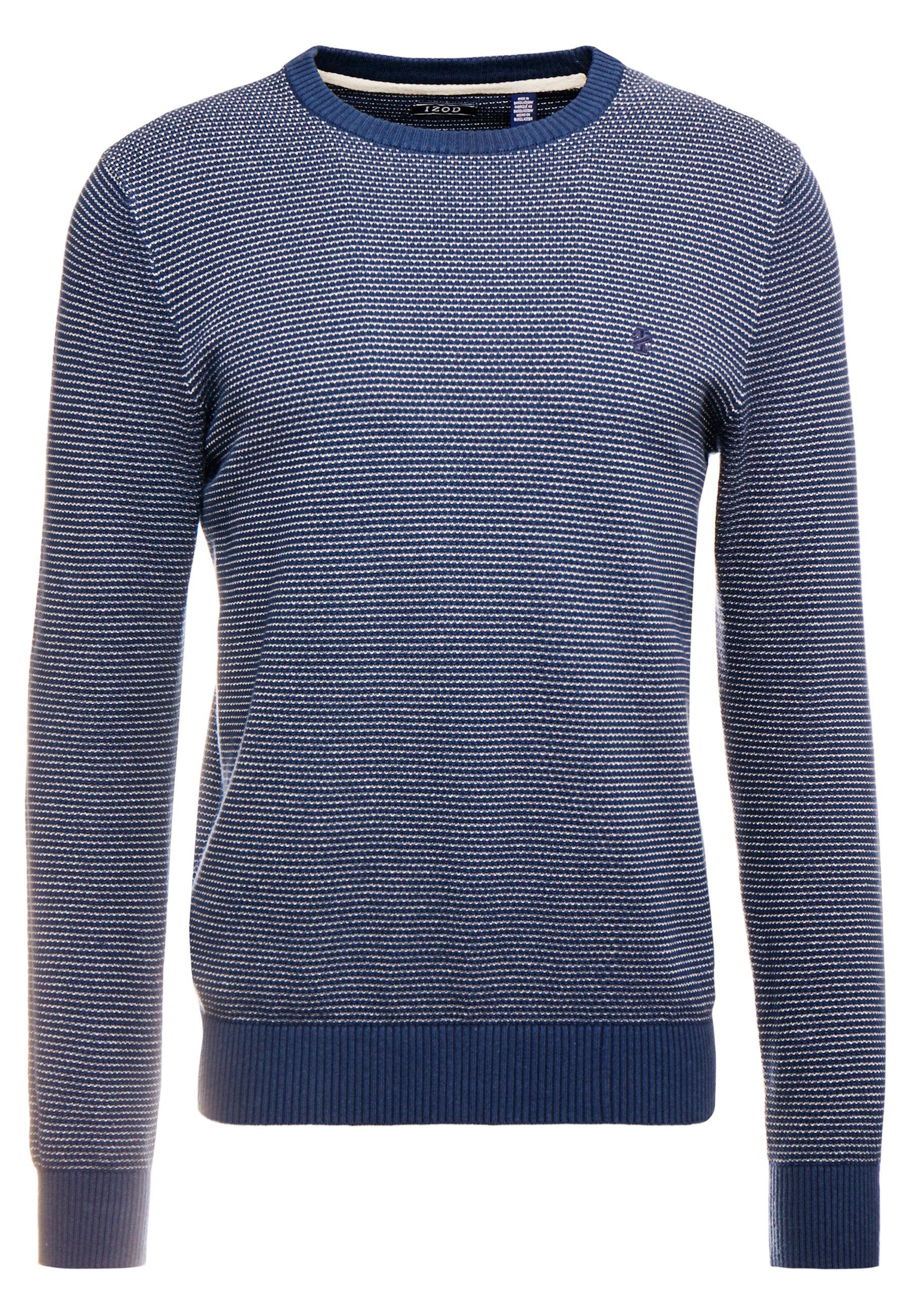 Grey /& Navy Jacquard Crew Neck Sweater