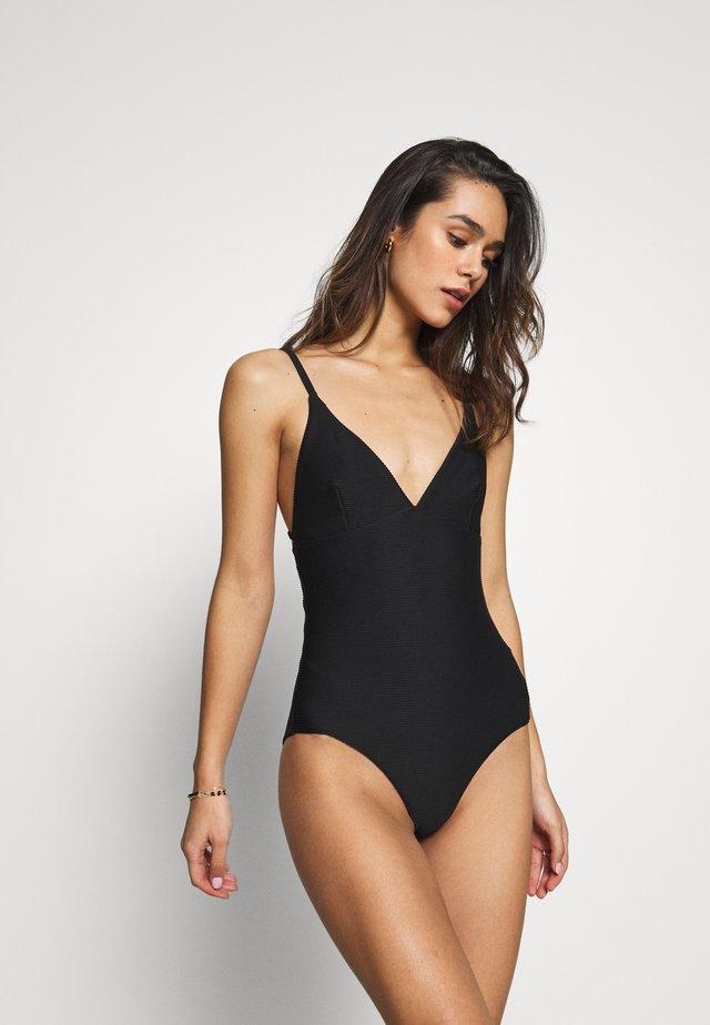 ESSENTIALS V NECK MAILLOT - Swimsuit - black