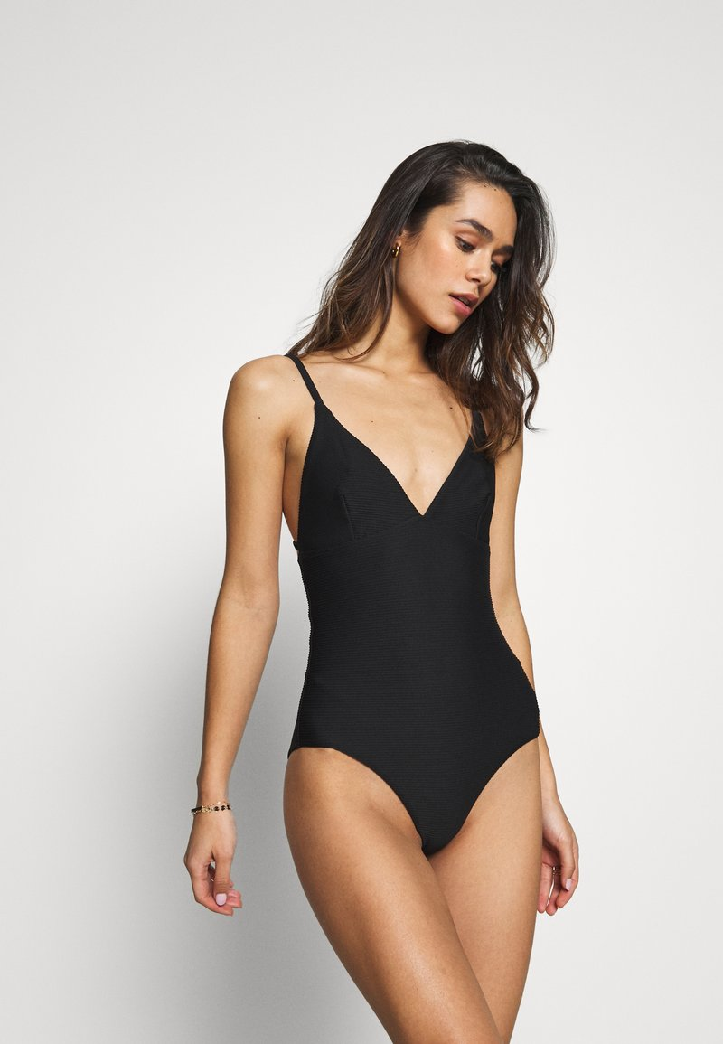 Seafolly - ESSENTIALS V NECK MAILLOT - Plavky - black