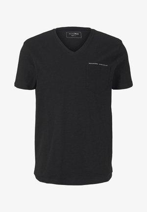 MELIERTES MIT BRUSTTASCHE - Basic T-shirt - black