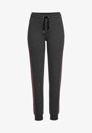 Tracksuit bottoms - anthrazit-meliert-bordeaux-weiß