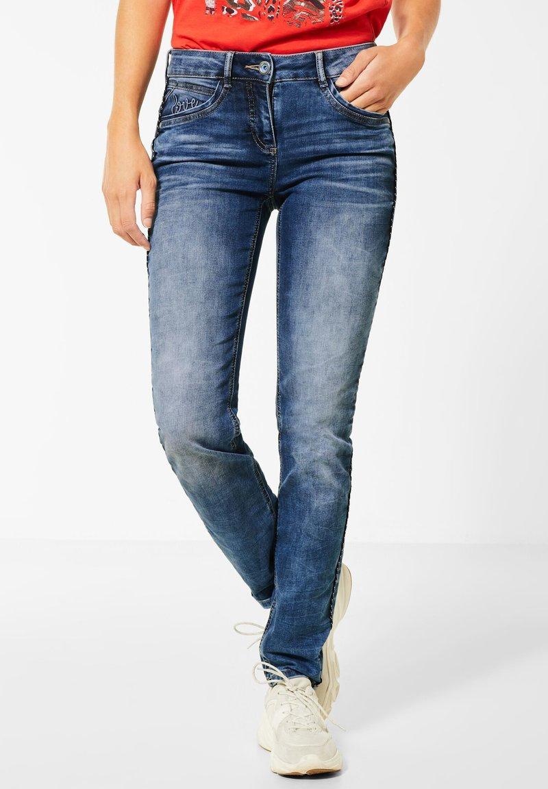 Cecil - DENIM MIT KORDEL-GALON - Slim fit jeans - blau