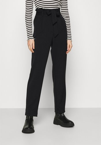 ONLSUNNY PAPERBAG BELT PANT - Trousers - black