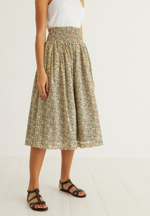 FLORAL PRINT  - A-line skirt - black