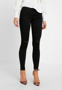 Missguided - VICE HIGHWAISTED SLASH KNEE  - Jeans Skinny Fit - black - 0