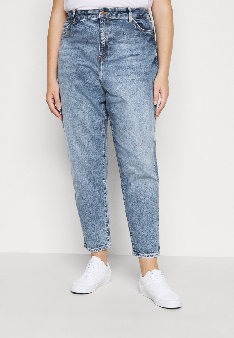 New Look Curves - WAISTENHANCEMOM - Džíny Straight Fit - mid blue
