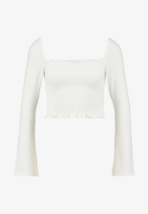 Pamela Reif x NA-KD SQUARE NECK CROP TOP - Long sleeved top - white