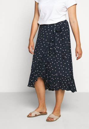 HANNAH WRAP MIDI CURVE SKIRT - Wrap skirt - dark blue