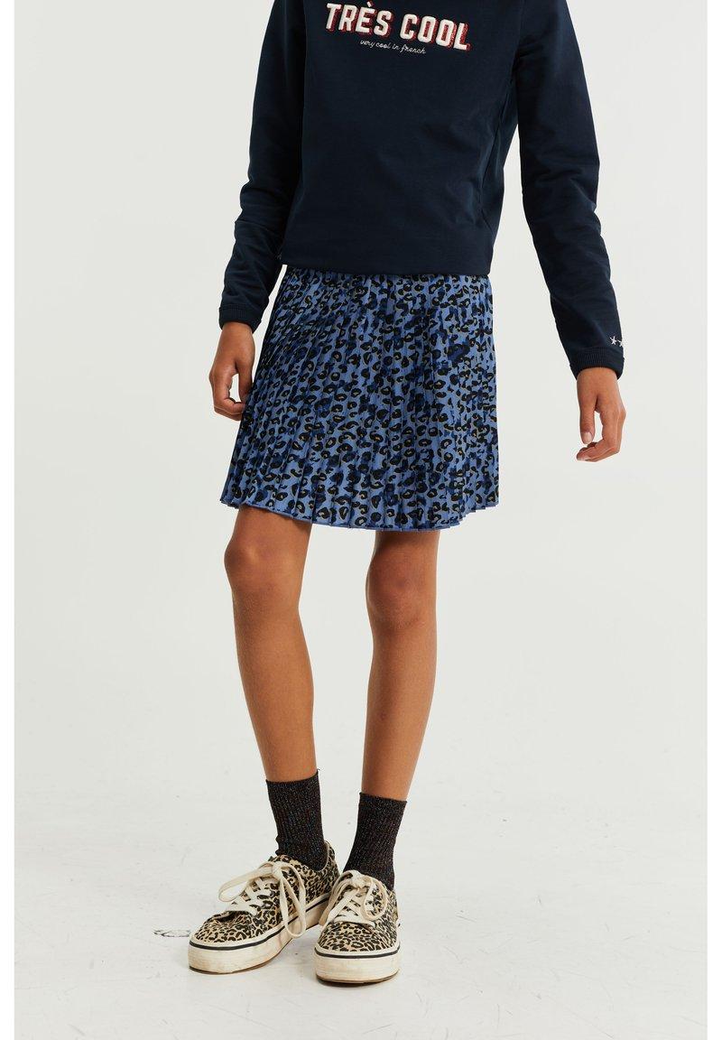 WE Fashion - PLISSÉ MET LUIPAARDDESSIN - Plooirok - blue