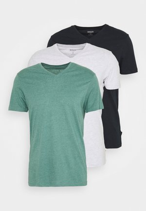 SHORT SLEEVE V NECK 3 PACK - T-Shirt basic - navy/light grey