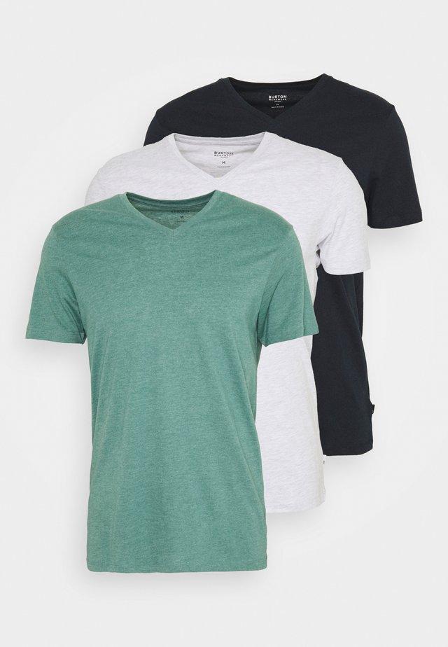 SHORT SLEEVE V NECK 3 PACK - T-Shirt basic - navy/light grey
