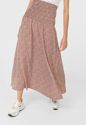 MIT PRINT UND STRETCHBUND  - A-line skirt - light brown