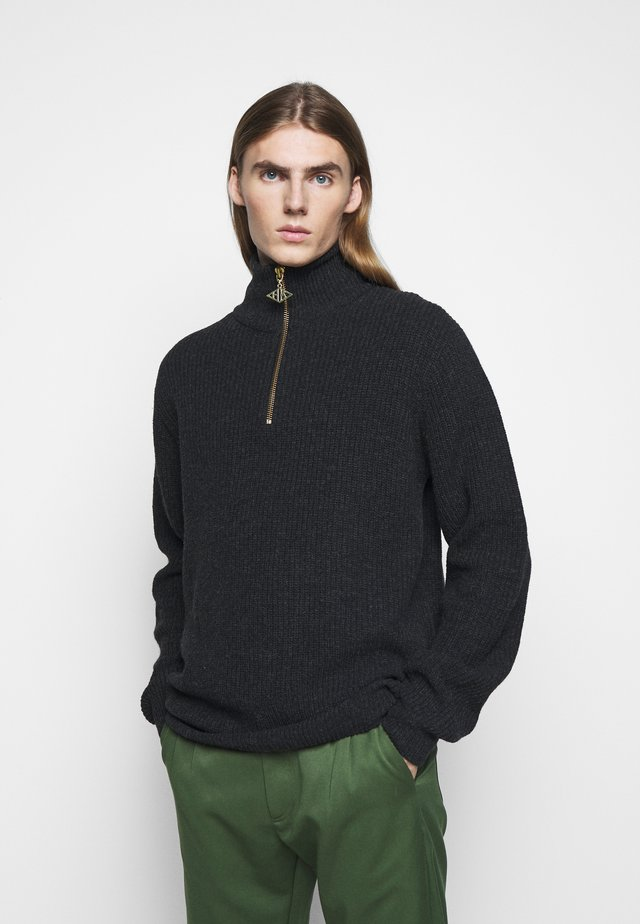 ZIP TURTLE NECK - Pullover - black melange