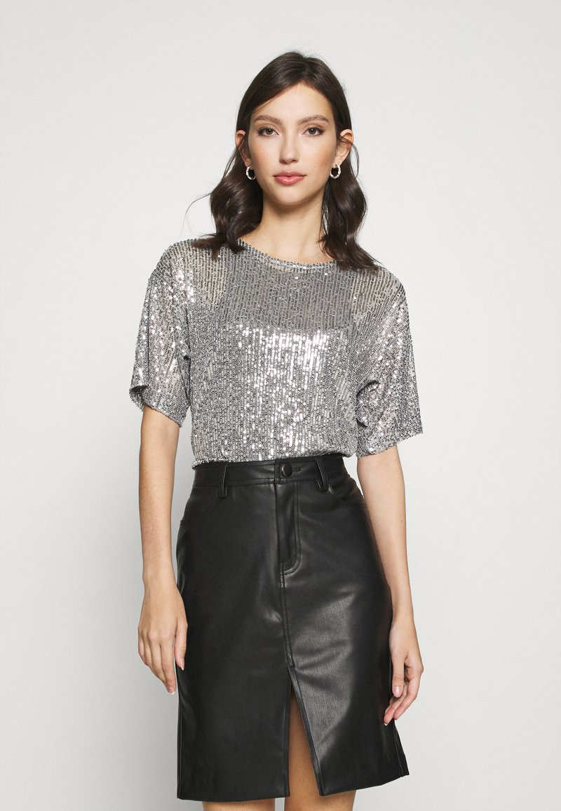 Gina Tricot - RUDY SEQUINS - Bluser - silver