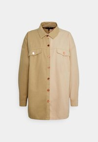 Missguided - SPLICED OVERSIZED TIE SHIRT - Overhemdblouse - tan - 0