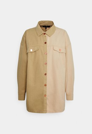 SPLICED OVERSIZED TIE SHIRT - Overhemdblouse - tan