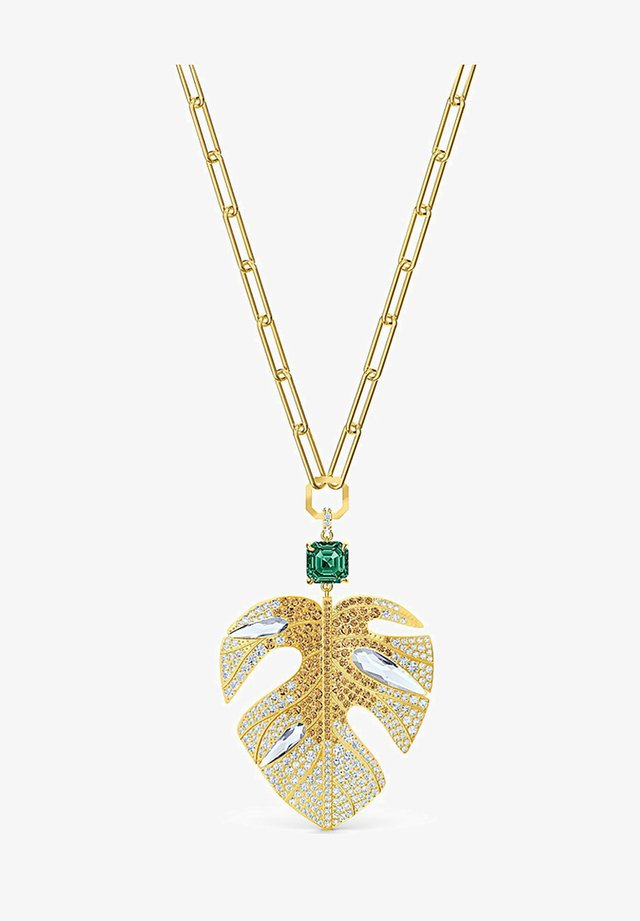 TROPICAL LEAF PENDANT, LIGHT MULTI-COLORED, GOLD-TONE PLATED - Necklace - gelbgold