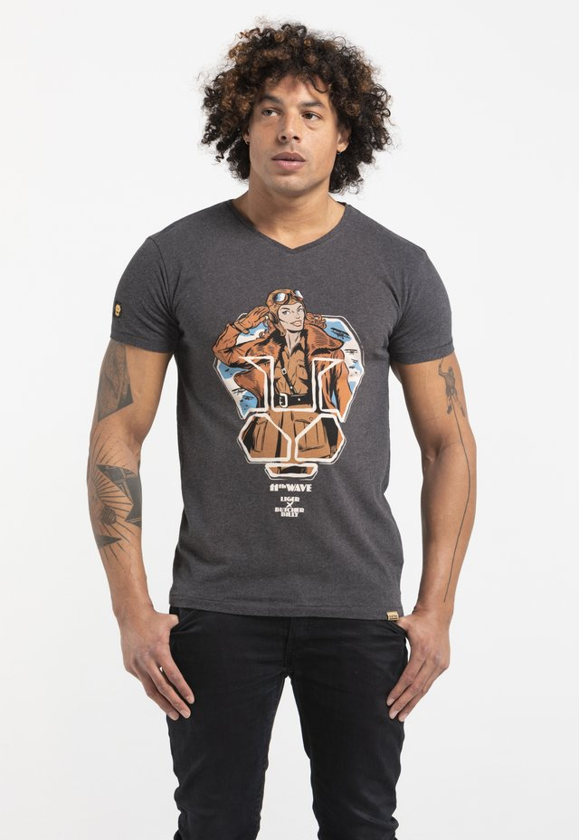 LIMITED TO 360 PIECES - BUTCHER BILLY - AVIATOR - T-shirt imprimé - dark heather grey melange