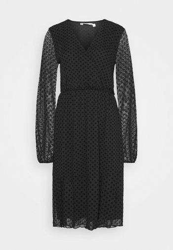 WRAP DOBBY DRESS - Cocktailkjoler / festkjoler - black