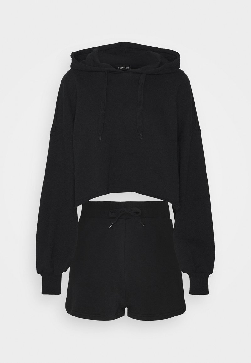 Even&Odd - CROPPED HOODIE & SHORT SWEAT SET  - Sweatshirt - black