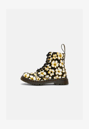 PASCAL - Šněrovací kotníkové boty - black/yellow