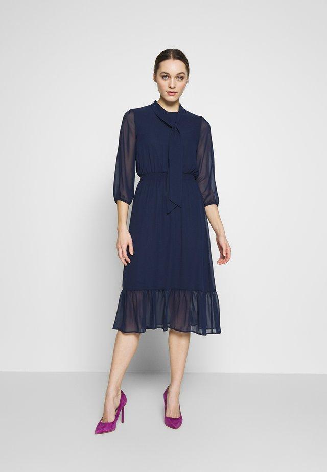 PLAIN PUSSYBOW FRILL DRESS - Day dress - navy