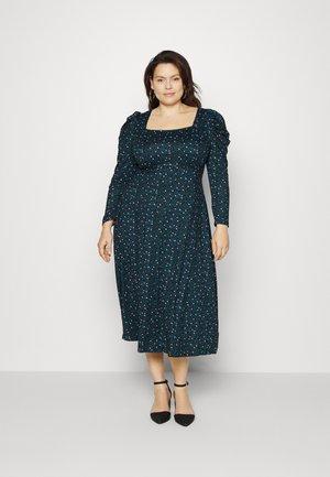 SQUARE NECK MIDI DRESS - Jersey dress - black