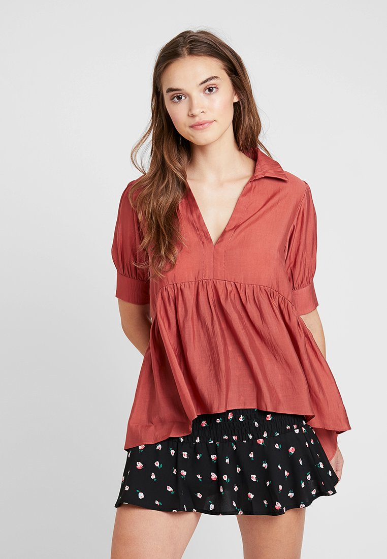 Lost Ink - OVERSIZED SMOCK BLOUSE - Blouse - rust