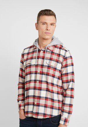 HOODED CHECK - Shirt - bordeaux red