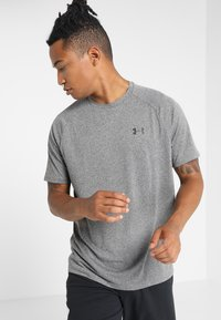 Under Armour - HEATGEAR TECH  - Camiseta estampada - charcoal light heather/black - 0