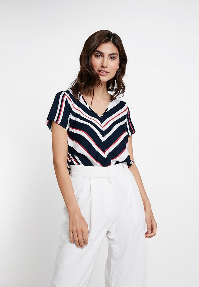 MULTISTRIPED BLOUSE - Blouse - dark red