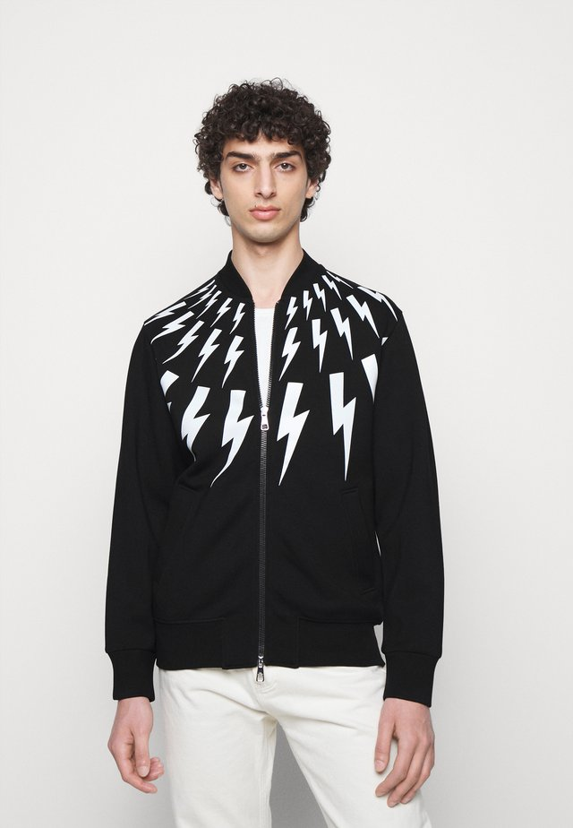 FAIR ISLE THUNDERBOLT - veste en sweat zippée - black/white