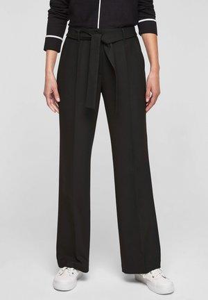 REGULAR: MIT BÜGELFALTEN - Trousers - black