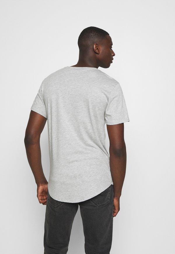 Only & Sons ONSMATT LONGY TEE 3 PACK - T-shirt basic - light grey melange/white gray/black/biały Odzież Męska PLDI