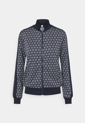 SHRUNKEN LOGO JACQ JACKET - Zip-up hoodie - dark blue