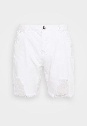 DISTRESSED - Džínové kraťasy - white