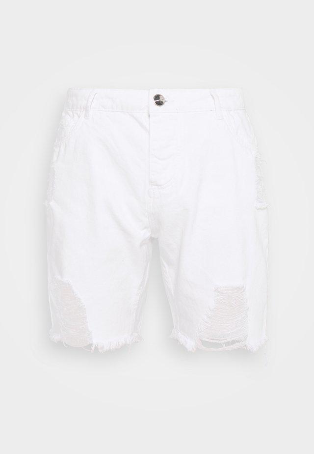 DISTRESSED - Jeans Short / cowboy shorts - white